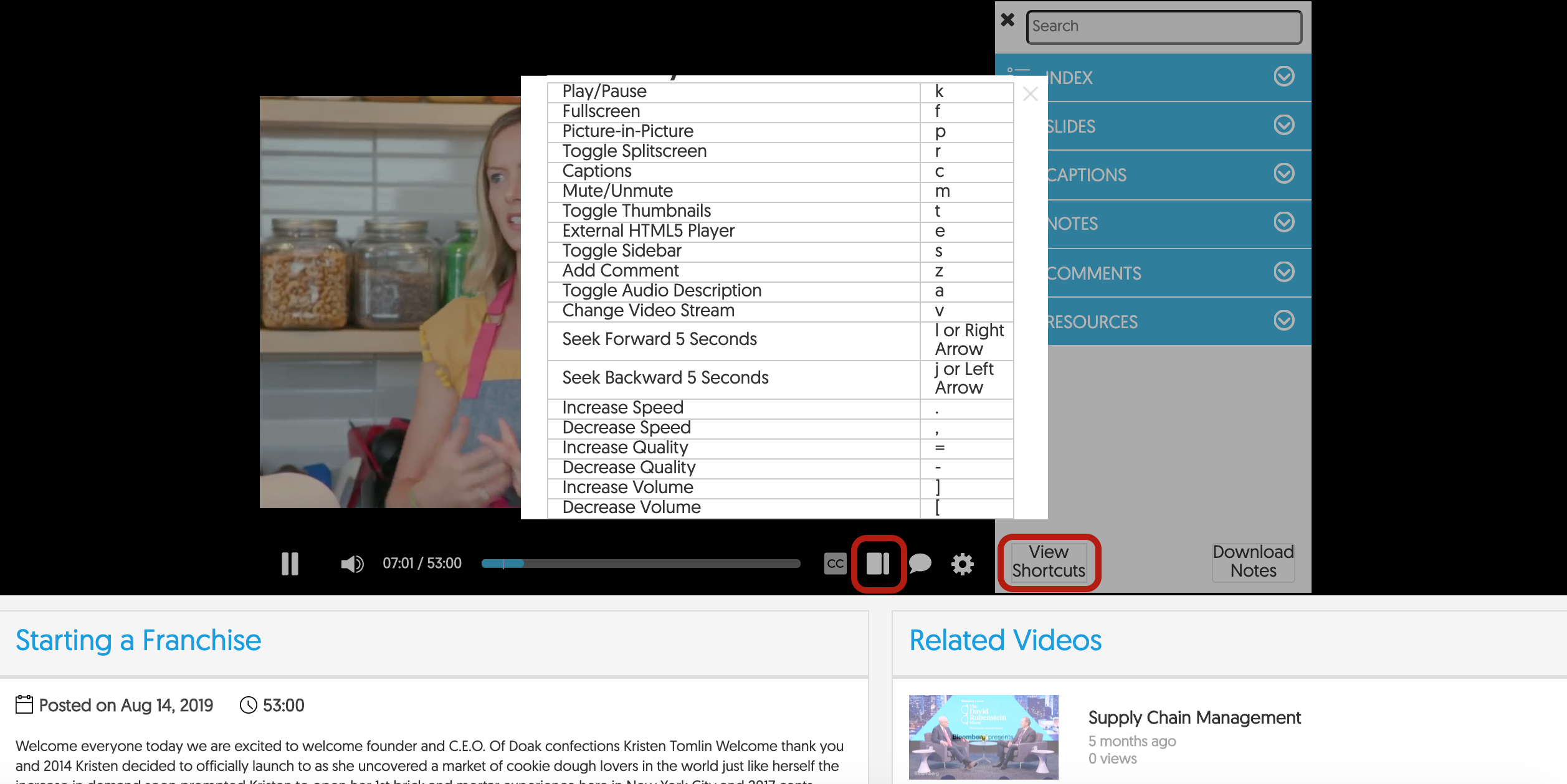 Hot Key List for YuJa Media Player